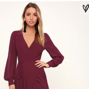 Lulu's My Whole Heart Burgundy Long Sleeve Dress